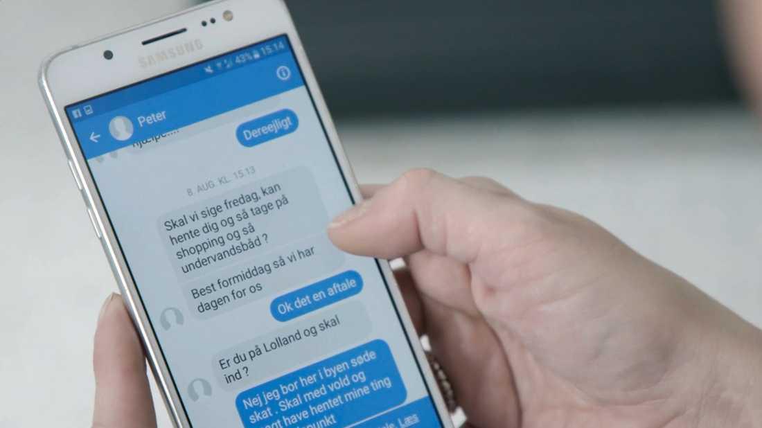 Sms-konversation mellan Madsen och hans älskarinna.