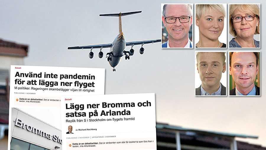 Vi vill se beslut och investeringar för utbyggnad av Arlanda innan Brommas framtid avgörs. Under tiden följer vi med spänning elflygets utveckling för snabba, tysta och utsläppsfria inrikestransporter från Bromma flygplats, skriver fem M-politiker.