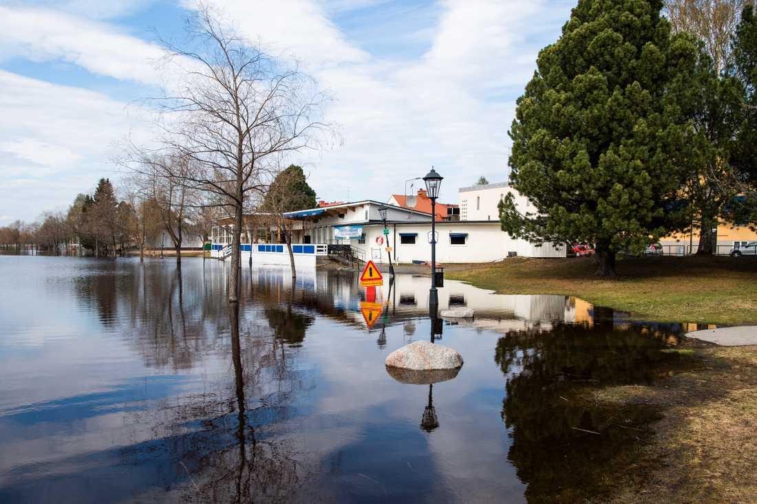 På vissa håll är det torrt, på andra håll är det översvämningar. SMHI har utfärdat varningar för i princip hela Sverige. På bilden ses översvämningar i Boden.
