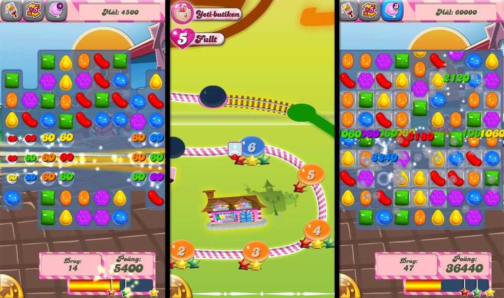 3-i-rad I Candy Crush ska spelaren stapla godis och karameller, 3-i-rad, för att få poäng. Varje bana har uppsatta poängmål som du måste nå innan du kan gå vidare.