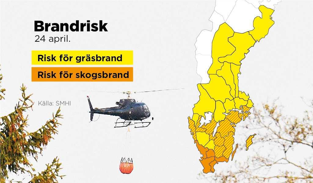 SMHI varnar för hög brandrisk i hela Götaland och Svealand de närmaste dygnen.