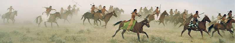 """Indianer i strid i filmen """"Little Big Man""""."""