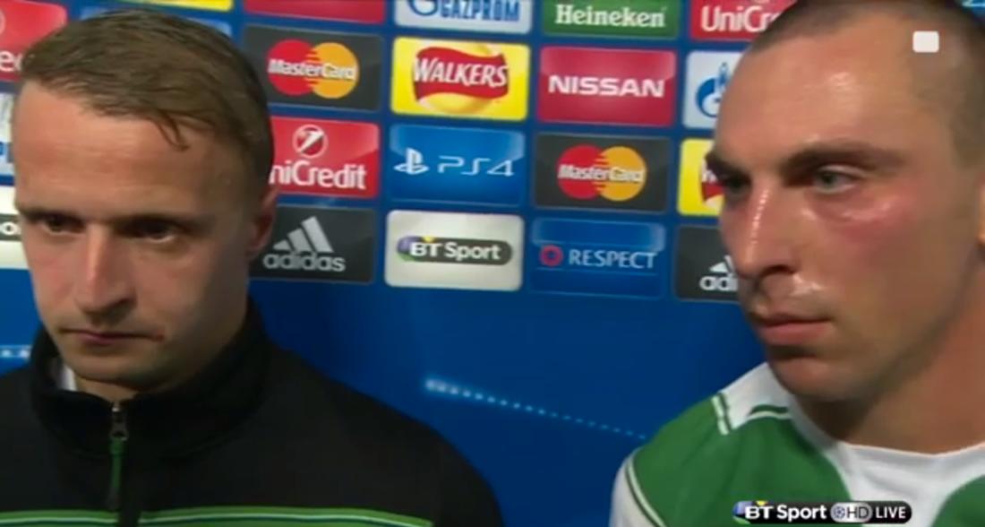 Leigh Griffiths och Scott Brown. Två besvikna herrar. Foto: BT Sport.