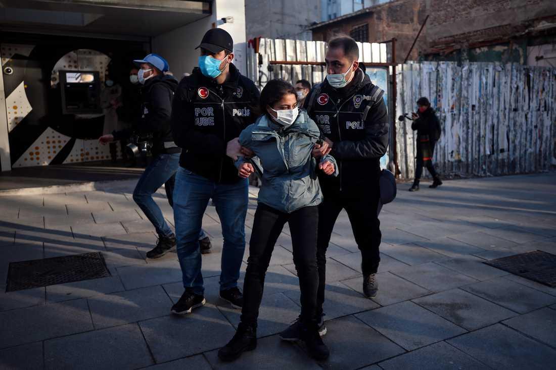 Protesterna i Turkiet utanför Bogaziciuniversitetet inleddes i början av året. Arkivbild.