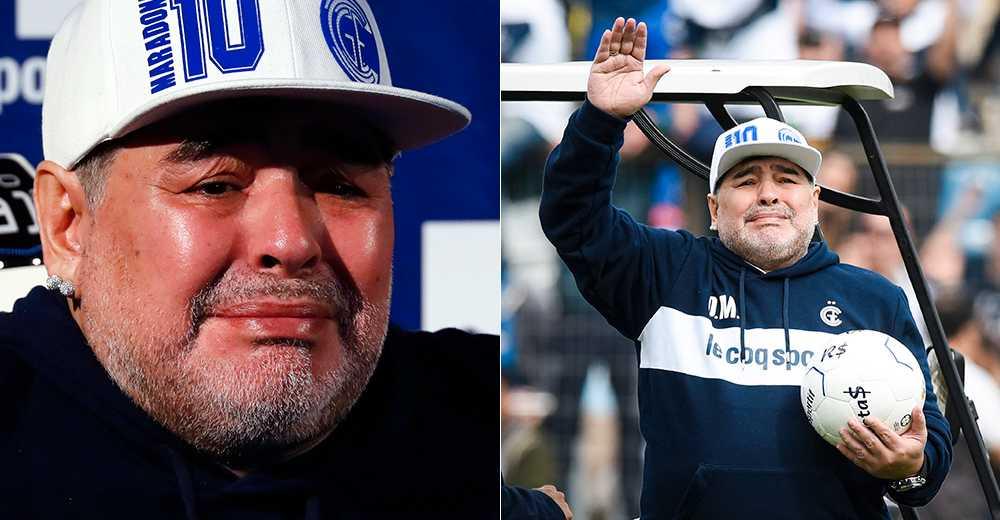 Diego Maradona rördes till tårar av välkomnandet  när han återvände till argentinsk fotboll förra året.