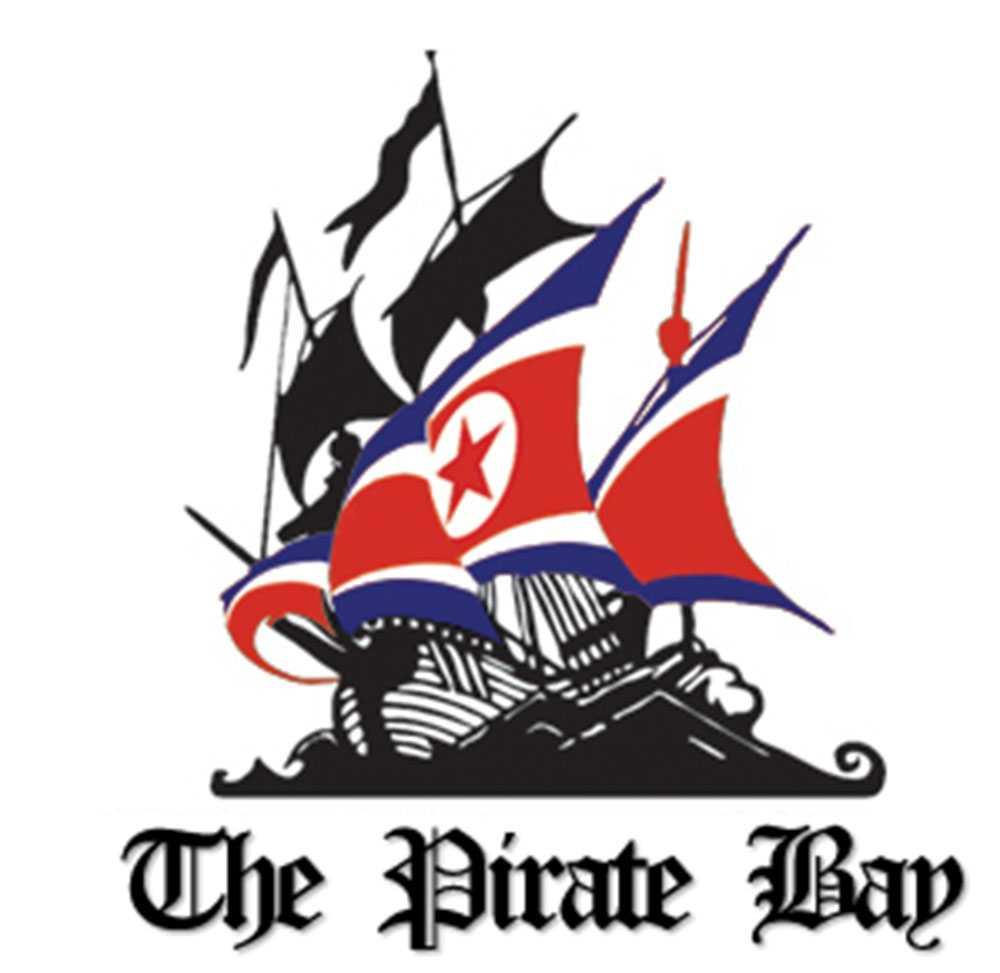 På Pirate bays hemsida har piratskeppet fått nordkoreanska segel