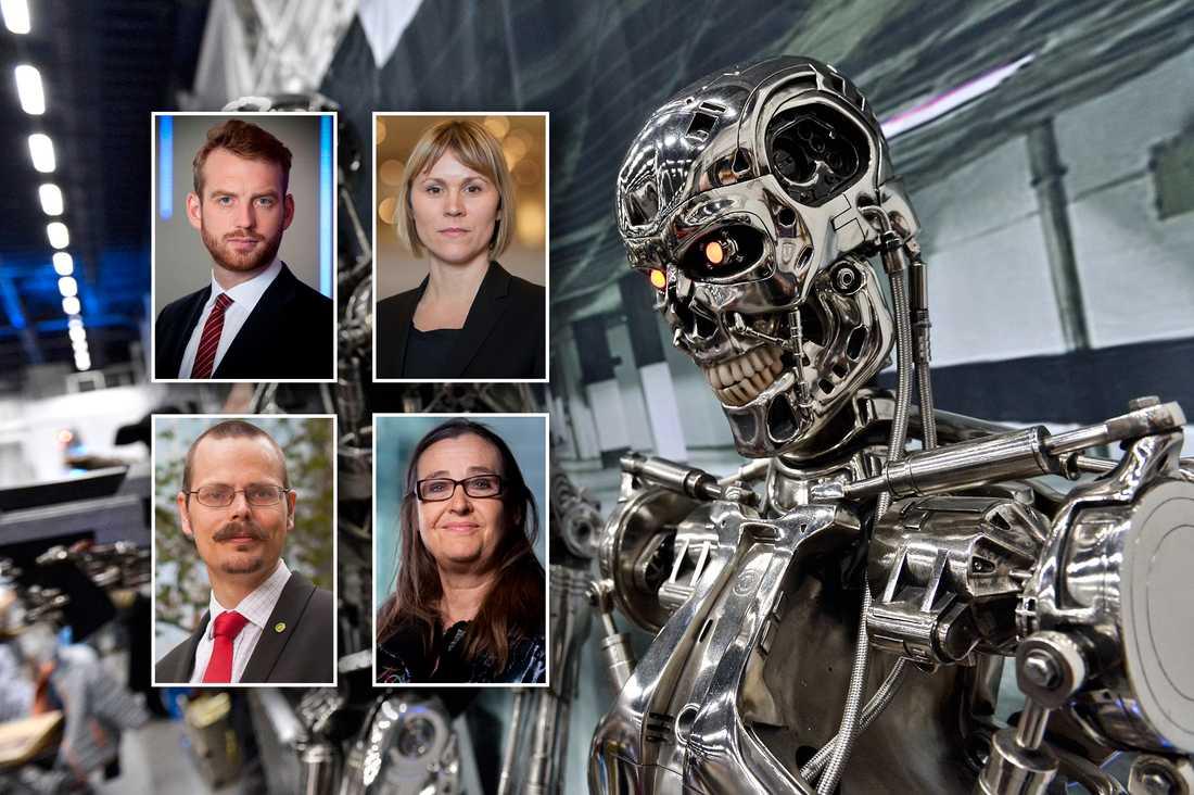Miljöpartisterna Jakop Dalunde, Linnea Engström, Max Andersson och Bodil Valero vill att Sverige ska verka för ett globalt förbud av autonoma vapen.