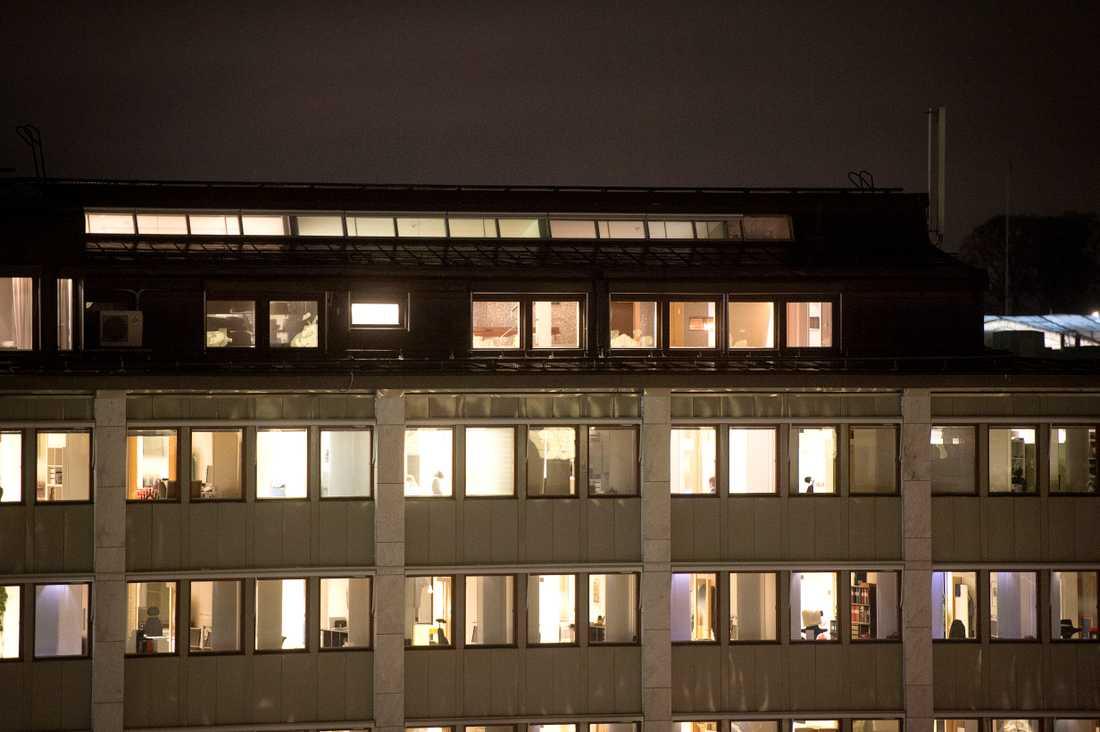 Kommunals festvåning ligger högst upp i huset på Hagagatan i Stockholm.