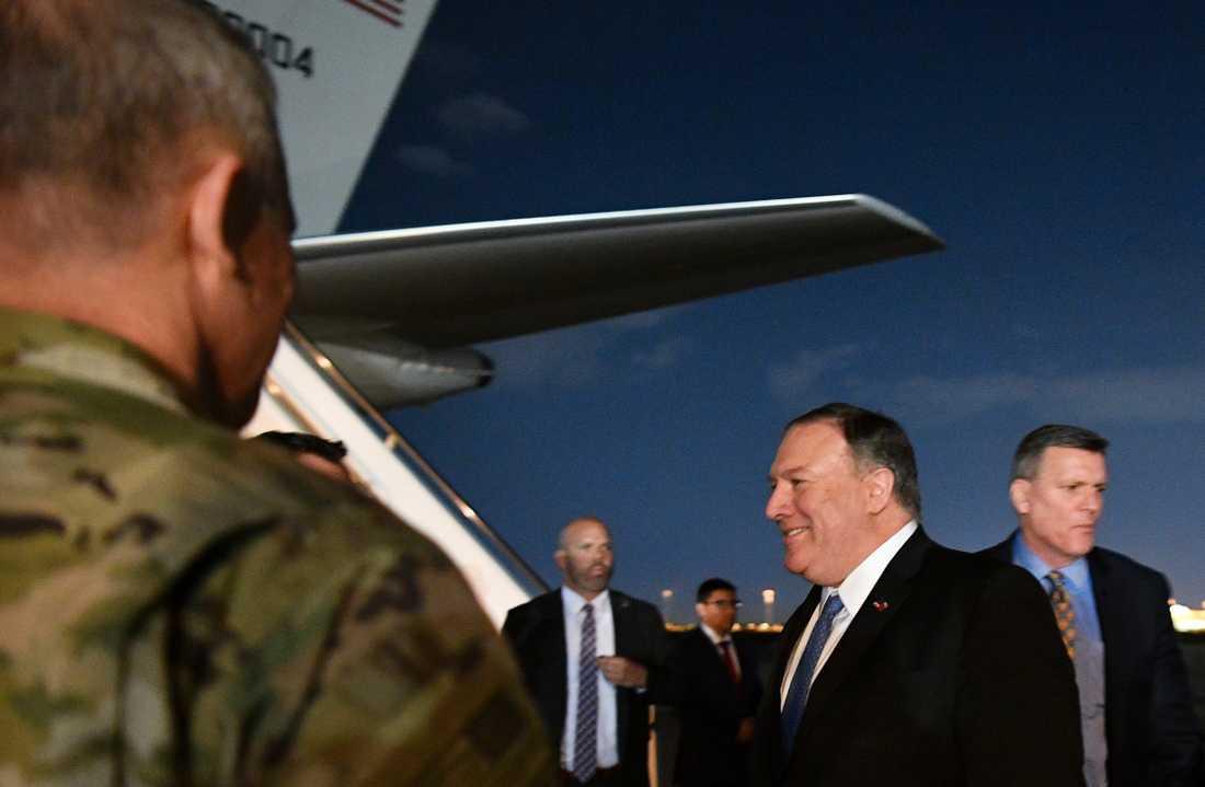 USA:s utrikesminister Mike Pompeo anlände till Iraks huvudstad Bagdad på tisdagen.