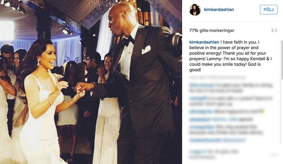 """Kim Kardashian stöttar Lamar. """"Jag är så glad att Kendall och jag fick dig att le"""", skriver hon i sociala medier."""