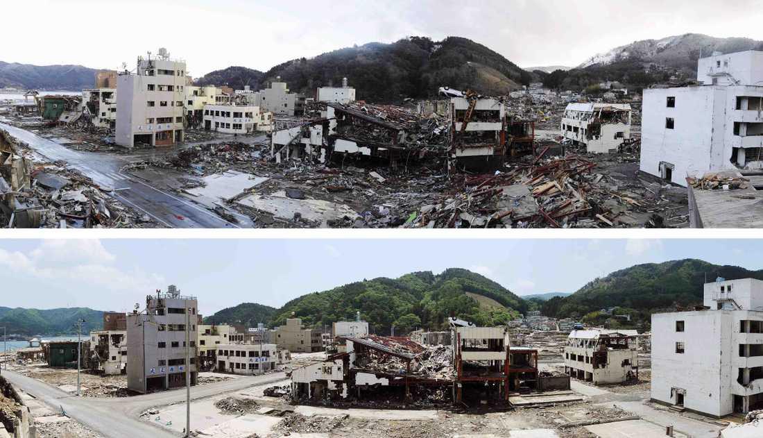 Onagawa i nordöstra Japan – efter jordbävningen och tsunamin och i dag.