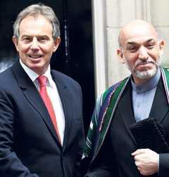 Västs skurkar? Britternas förre premiärminister Tony Blair blev till slut ett av Irakkrigets politiska offer. Frågan är när Afghanistans president Hamid Karzai går samma öde till mötes? För det är nederlag, inte demokrati som väntar i Afghanistan.