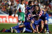 Kroatien jublar efter segern mot Bulgarien.