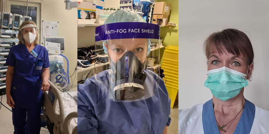 Iva-sköterskorna Gunilla Mattsson, Michaela Bülow och Helena Ronnestål vittnar om den pressade arbetssituationen på landets intensivvårdsavdelningar. Gunilla Mattsson har sagt upp sig.
