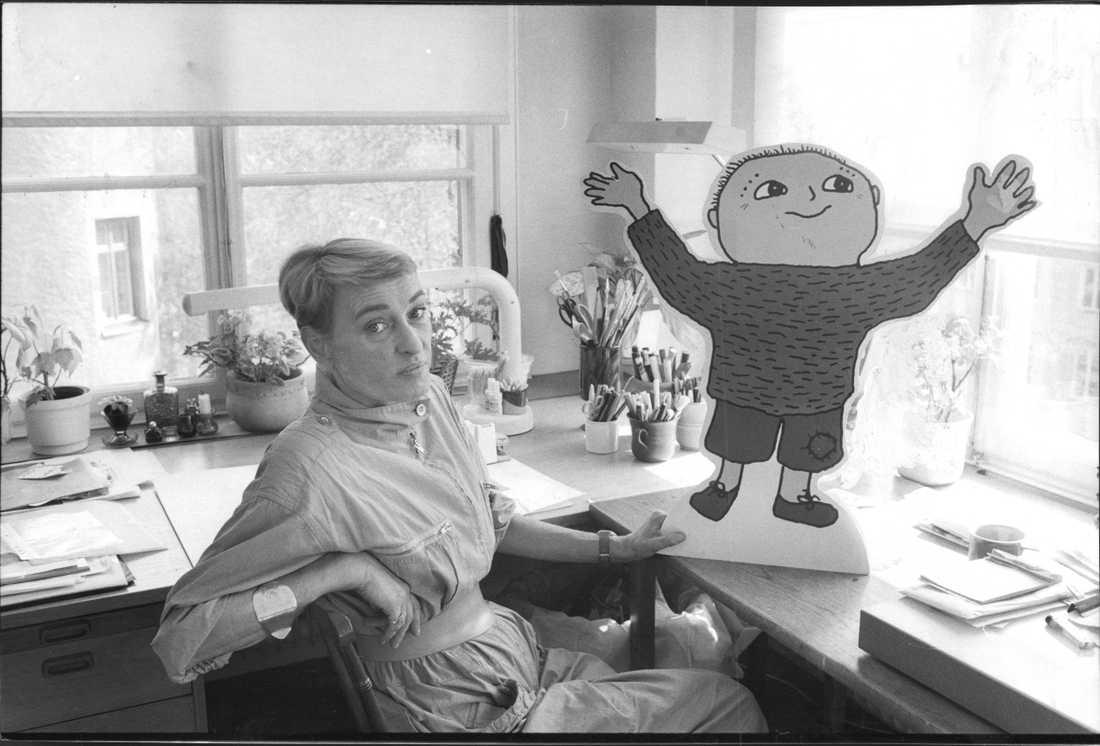 Gunilla Bergström med Alfons Åberg 1989.