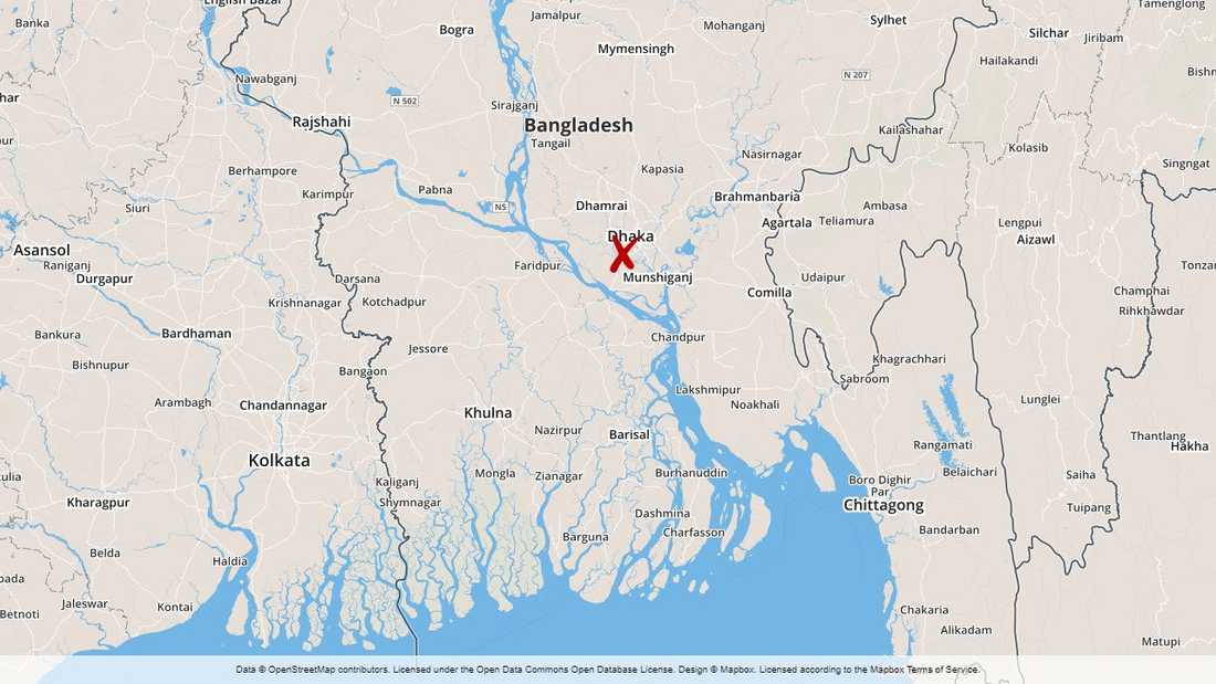 Tåget spårade ur ett par mil öster om Dhaka.