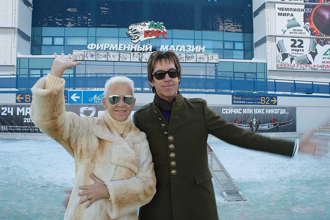 Privet Russia Marie Fredriksson och Per Gessle gjorde i går sin första spelning på Roxettes världsturné. Som uppvärmning har de semestrat i landet med sina familjer.