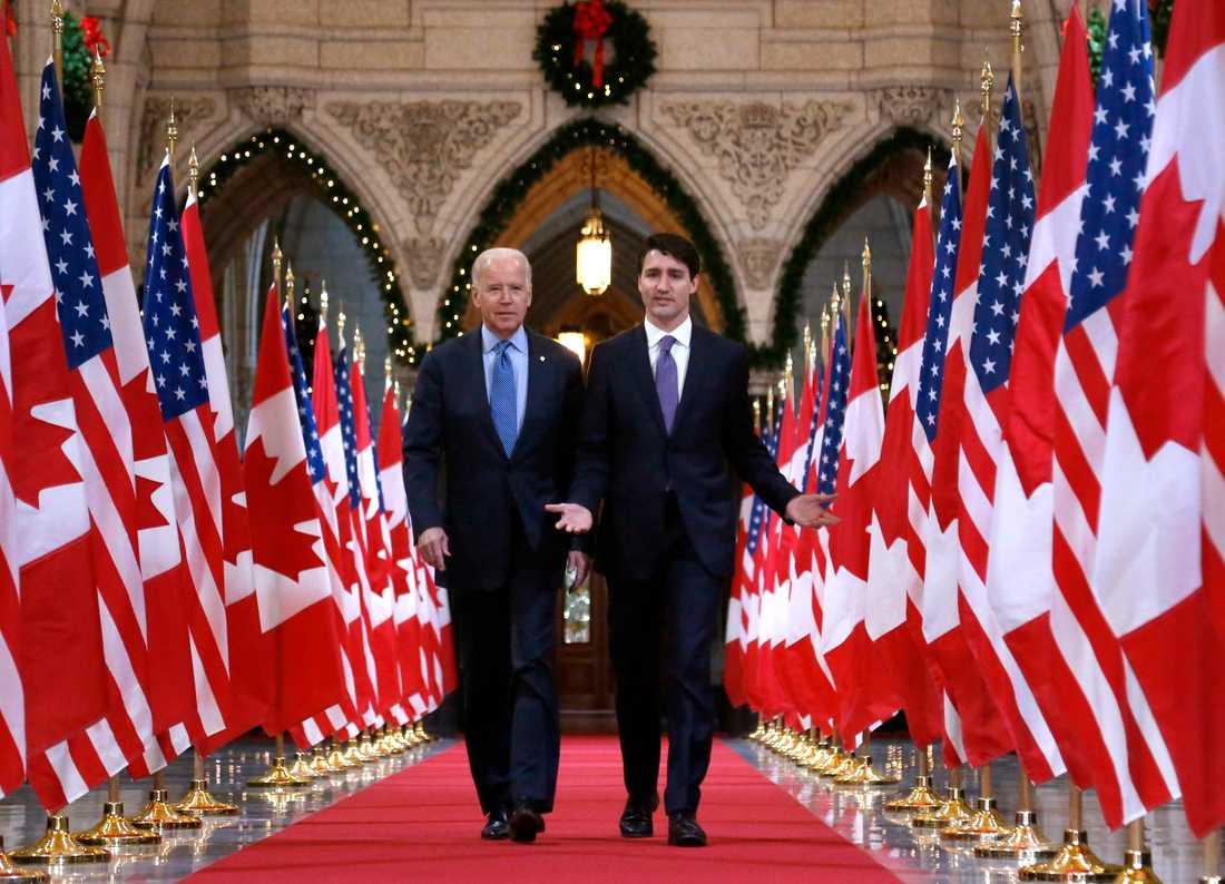USA:s Joe Biden när han var vicepresident och besökte Kanadas Justin Trudeau 2016.