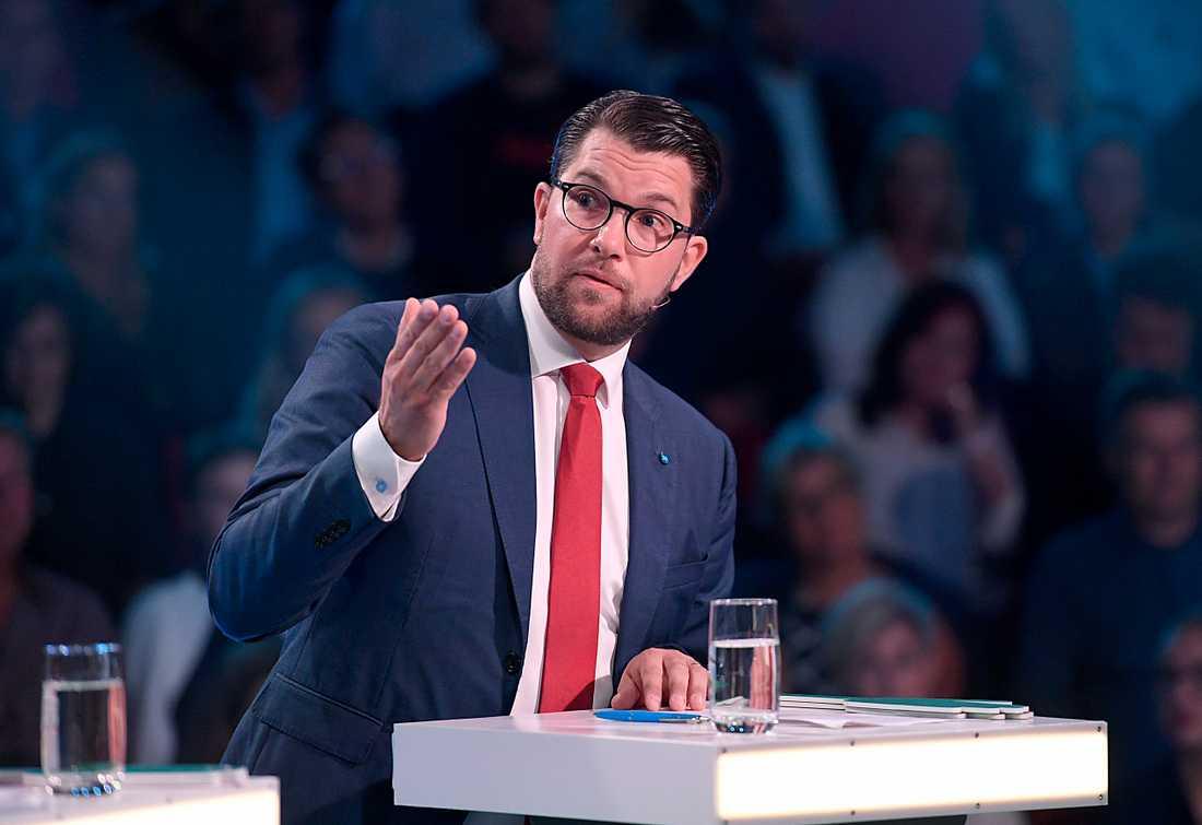 Jimmie Åkesson,  partiledare Sverigedemokraterna, under Aftonbladets partiledare.