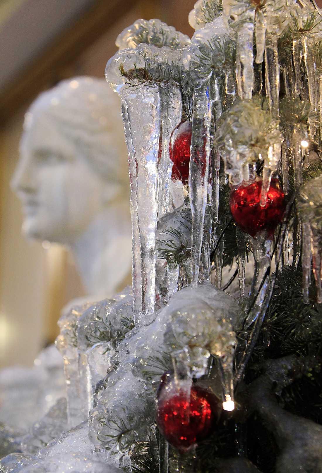 Moskva Isregnet över Rysslands huvudstad blev naturligt pynt i en julgran i centrum.