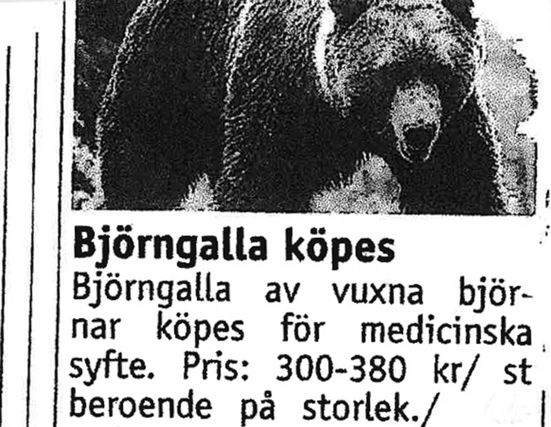 Exempel på annonser efter björngalla för medicinska skäl. Mannen dömdes för artskyddsbrott.