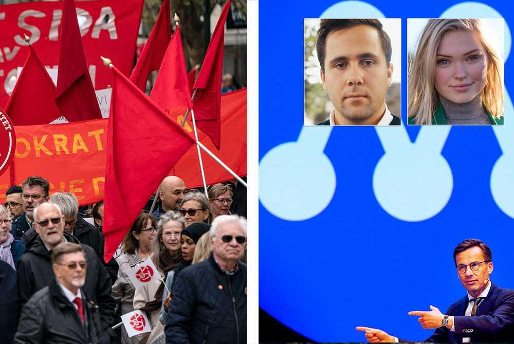 Kanske bör de röda fanorna bytas ut mot blå? I modern tid är Socialdemokraterna inte längre passande att vara Sveriges arbetarparti, utan det är en roll Moderaterna bör ha, skriver Benjamin Dousa och Linn Wirdemo, MUF.