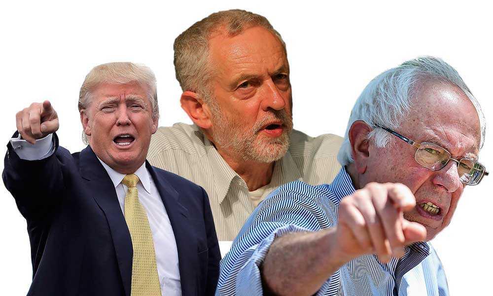 TRE ARGA MÄN Donald Trump, Jeremy Corbyn och Bernie Sanders.