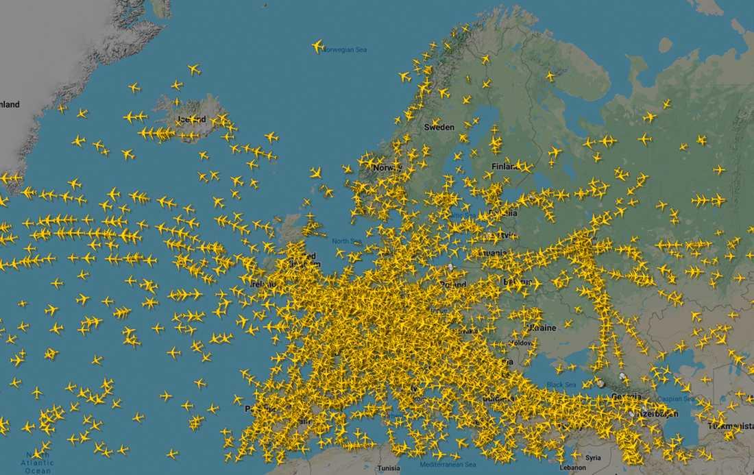 En översikt över flygtrafiken över Europa den 18 december 2019 från sajten Flightradar24.