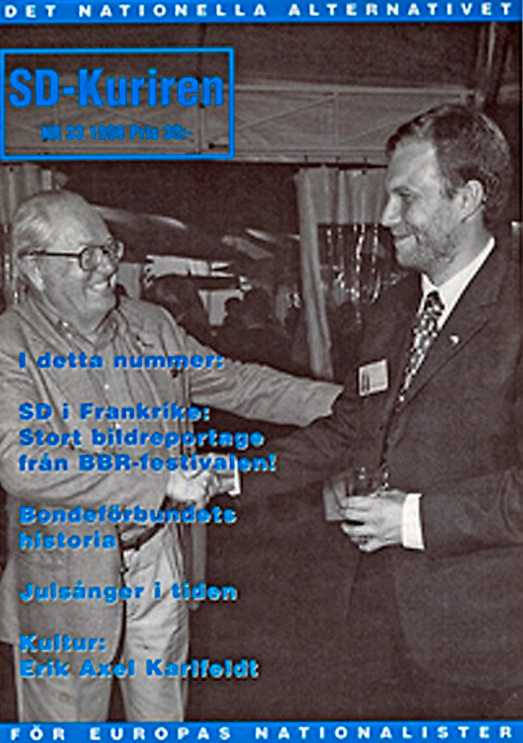 SD-Kuriren 1998. Le Pen skakar hand med Mikael Jansson sedan SD fått ekonomiskt stöd av Front National inför valet i Sverige.