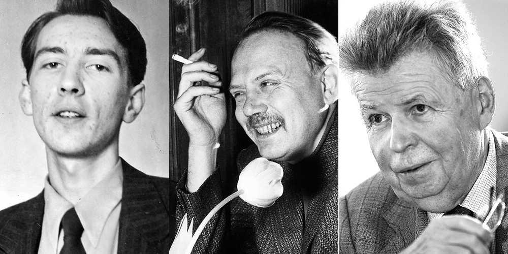 Bo Grandien, till höger (1932–2014), var en litterär stjärna som ung. Från vänster kompisarna Tomas Tranströmer och Lars Forssell.
