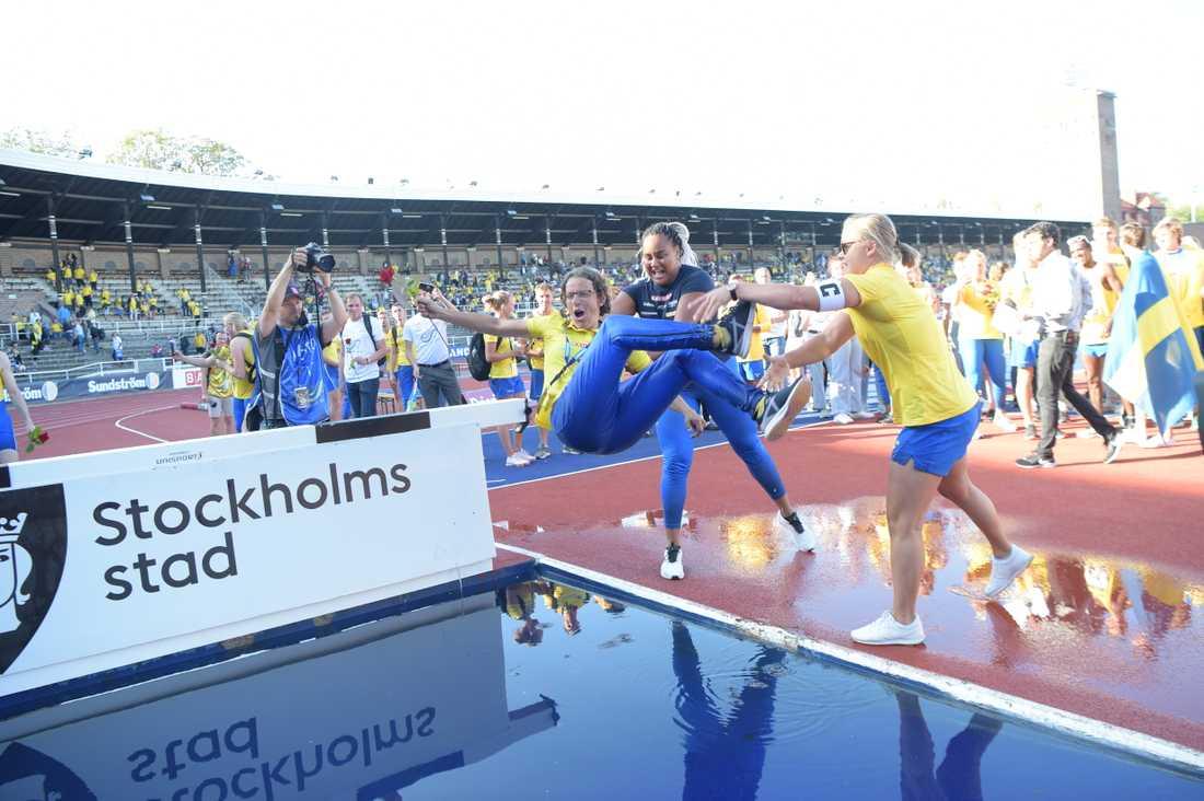 Förbundskapten Karin Torneklint kanske trots allt får åka till Finland för Finnkampen med sina svenska friidrottare. Arkivbild.