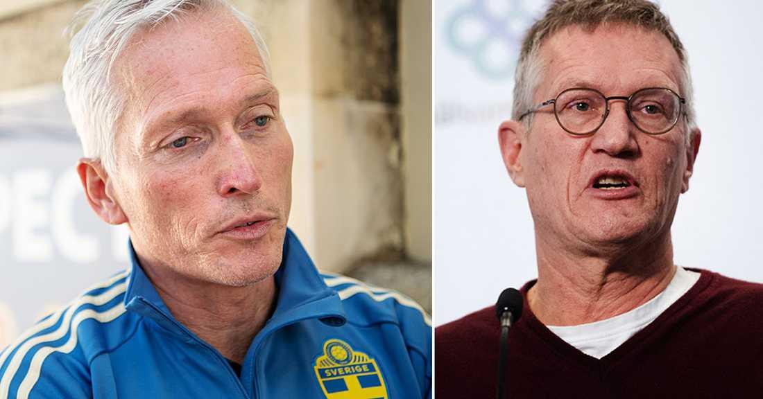 Håkan Sjöstrand, Svenska fotbollsförbundet, har efterfrågat respons från Anders Tegnell och Folkhälsomyndigheten.