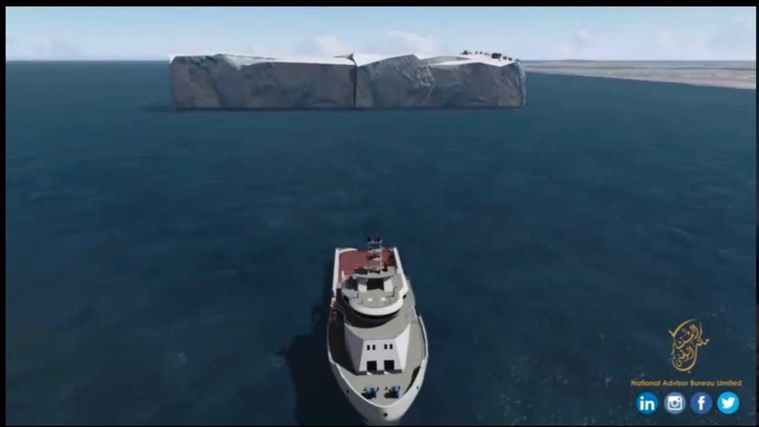 Ett metallbälte ska hålla ihop isberget under den tio månader långa bogseringen, men omkring 30 procent av berget väntas ändå smälta innan det når fram.