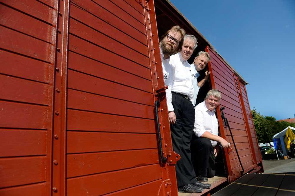 Museejärnvägsentusiasterna Jonas Svartlok, JanÅström, Anders Johansson och Anders Svensson