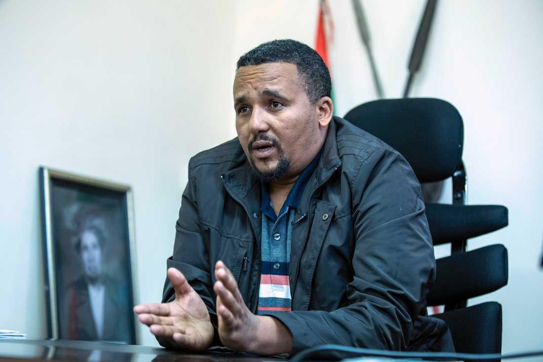Jawar Mohammed under en intervju i Addis Abeba i torsdags där han antyder att han kan komma att utmana sin tidigare allierade, premiärminister Abiy Ahmed, i nästa års val.