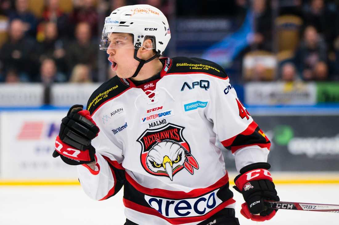 Malmö Redhawks Rhett Rakhshani jublar.