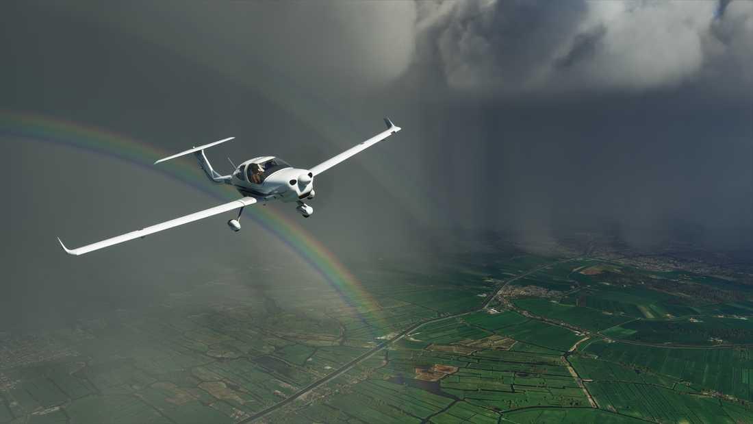 Regnbågar skapas naturligt i spelet, till följd av de system som byggts upp kring luftfuktighet och ljus. Pressbild.