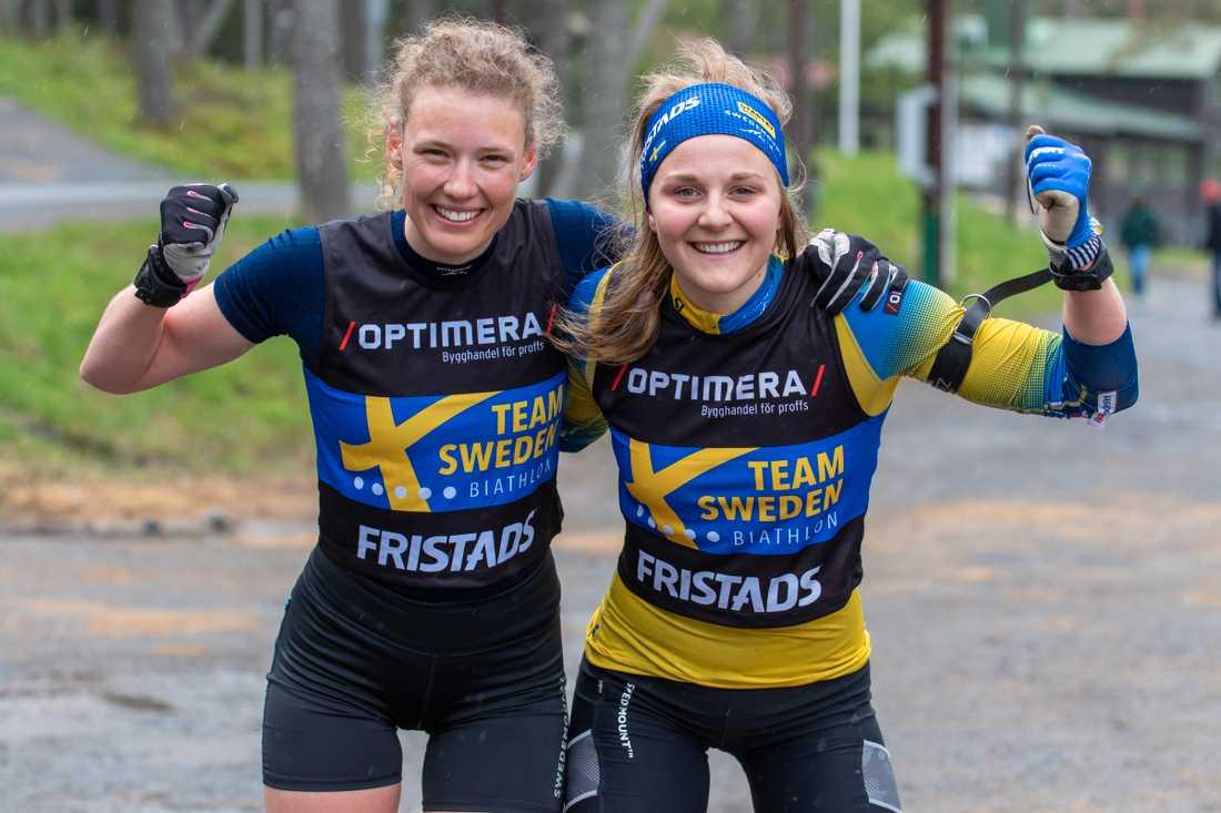 Hanna Öberg och Stina Nilsson på träningen.