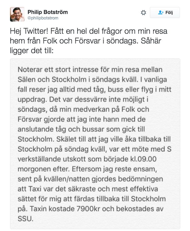 Skärmdump från Twitter.