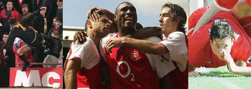 Klassiker Cantonas kung fu-spark, säsongen när Arsenal gick obesegrat genom ligan och Robbie Fowlers galna målgest. Tre klassiska ögonblick från Premier League.