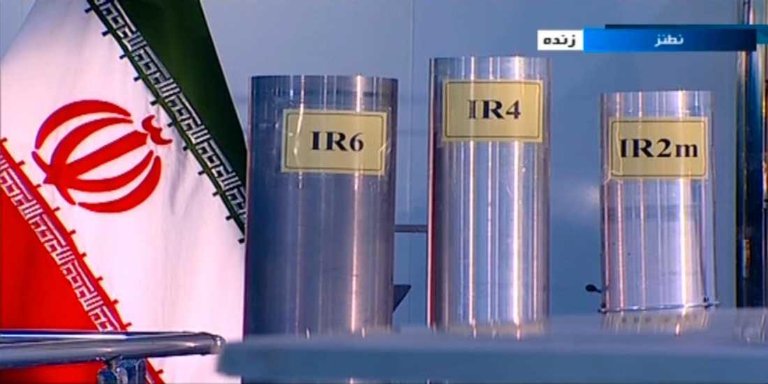 På bilden från 2018 syns IR-6 och IR-4, två av de modeller av iransktillverkade urancentrifuger som nu har aktiverats. Arkivbild.