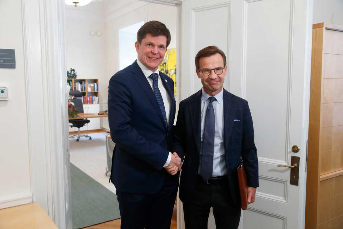 En vecka efter den andra talmansrundan, då Moderatledaren Ulf Kristersson fick talman Andreas Norléns uppdrag att sondera för en regering, är det på tisdagen dags för Kristersson att lämna en lägesrapport till talmannen. Arkivbild.