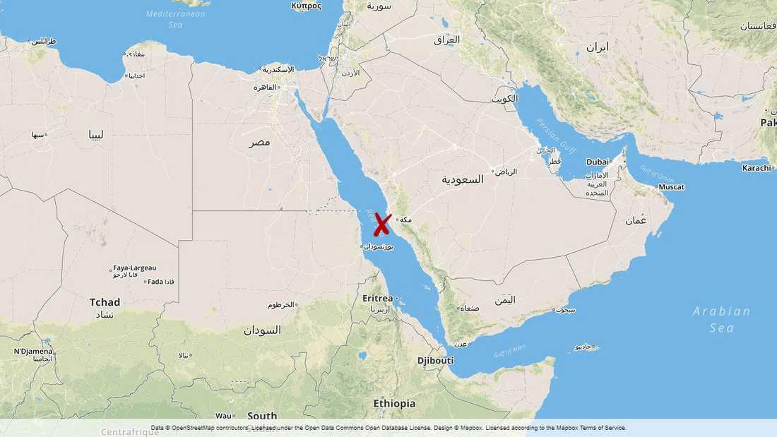Explosionen inträffade knappt tio mil utanför Jidda.