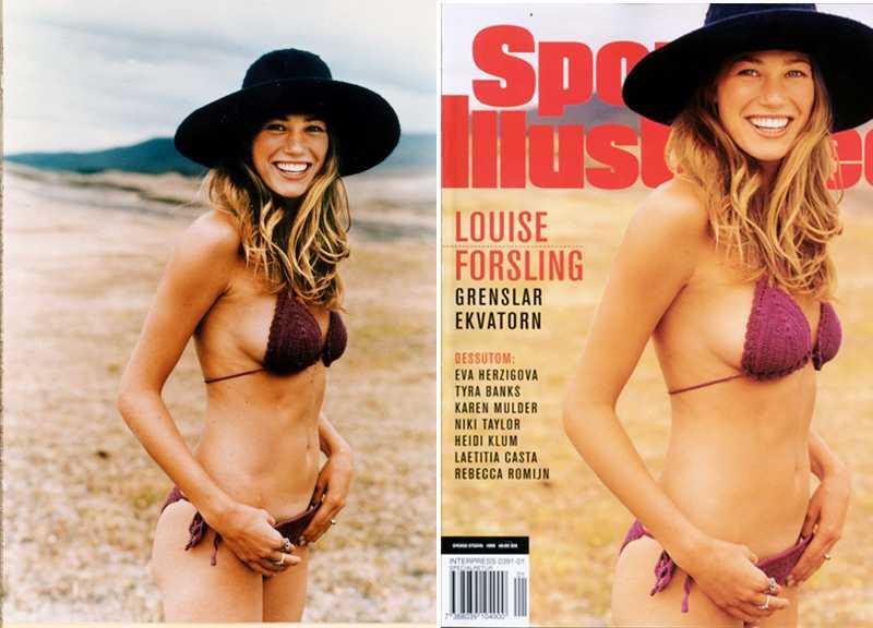 """Här är en """"före"""" och en """"efter"""" bild på svensak modellen Lousie Forsling. Den senare bilden är retuscherad av det amerikanska tidningen """"Sports Illustradted Magazine"""" för att platsa på omslaget på deras årliga badräktsnummer."""