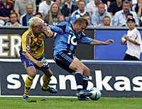 Daniel Sjölund, här i kamp med Patrik Eriksson-Ohlsson.
