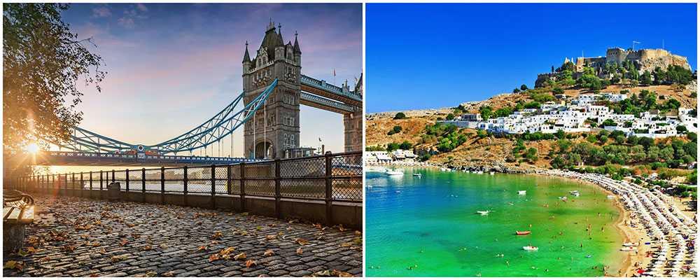 London eller Rhodos? Här är destinationerna vi helst vill besöka under höstlovet.