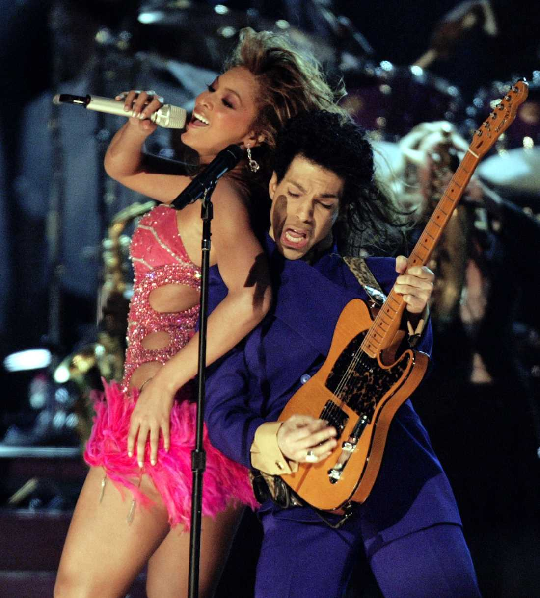 Prince och Beyonce på  Grammy Awards i Los Angeles februari 2004.
