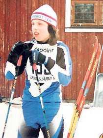 Charlotte Kalla i ett av många ungdomslopp. Här var det Kirunaklubben Jukkasjärvi IF som arrangerade.