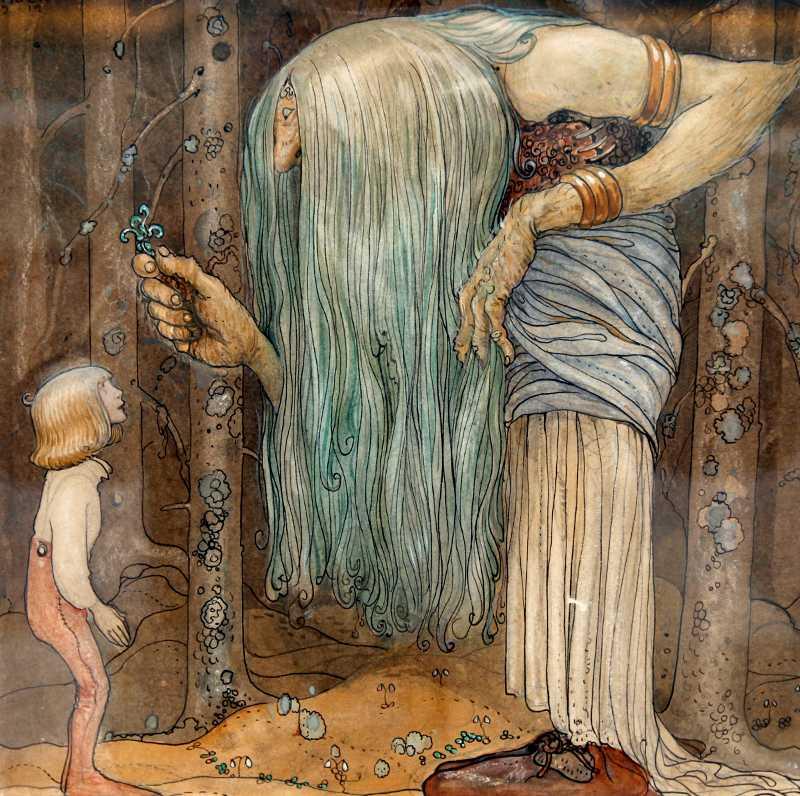 """""""Trollörten"""" av John Bauer. Ett jättelikt skogsrå visar magiska örter (beskuren)."""