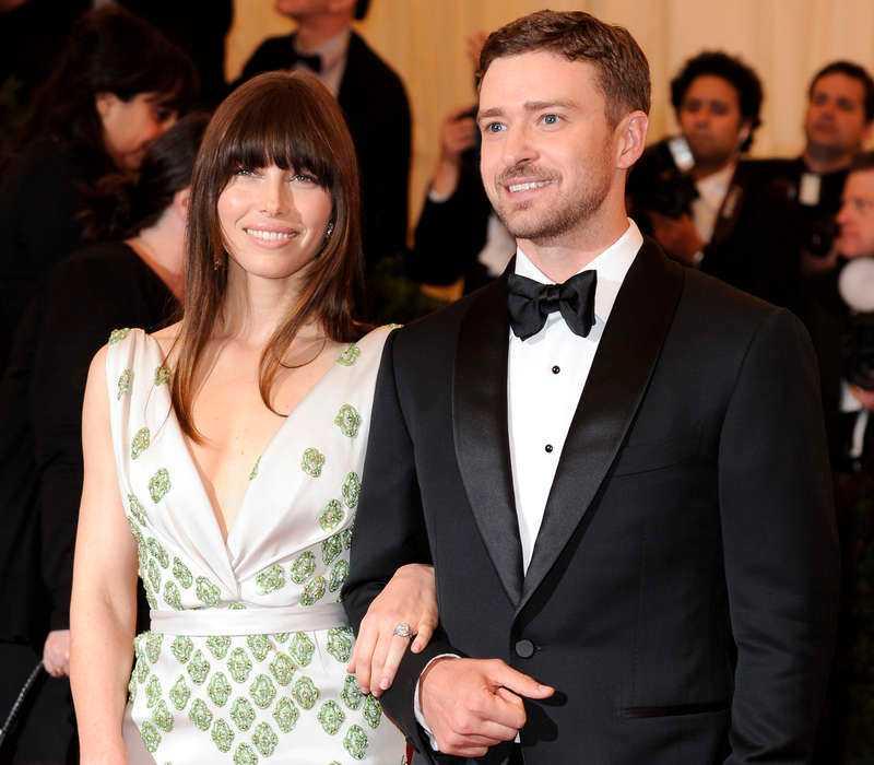 Justin Timberlake och frugan Jessica Biel Timberlake.